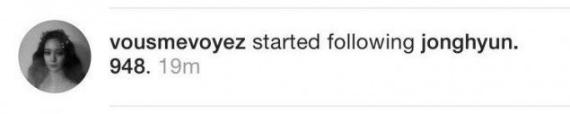 Krystal mới theo dõi Jong Hyun trên Instagram.