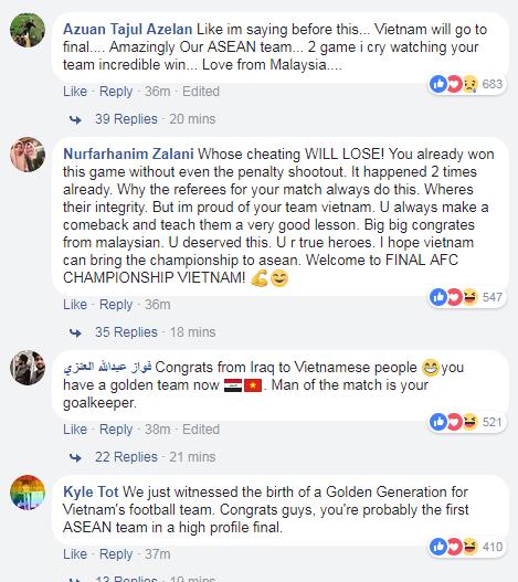 Nhiều lời chúc mừng từ CĐV châu Á gửi tới U23 Việt Nam. Ảnh: VnExpress