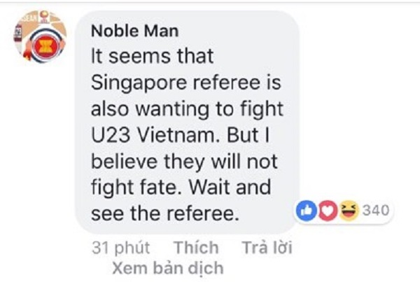 Dường như vị trọng tài người Singapore đang muốn chống lại Việt Nam.