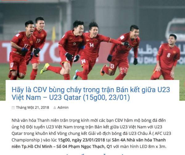 Nhà Văn hóa Thanh niên TP HCM thông báo lịch trình chiếu trận bán kết.