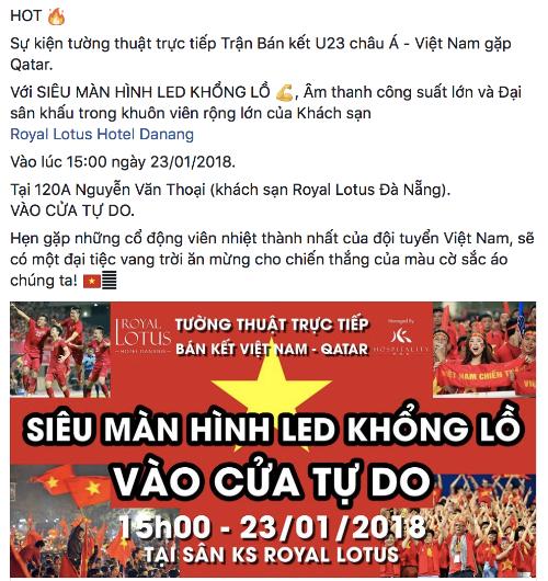 Thông báo xem U23 bán kết tại Đà Nẵng.