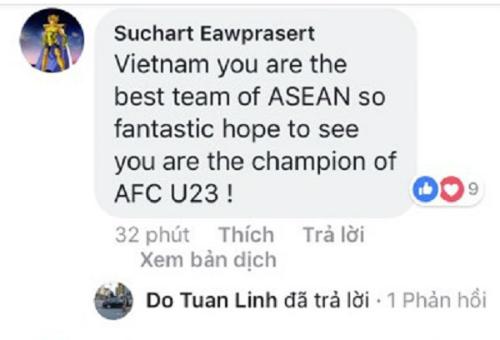 Việt Nam, các bạn là đội xuất sắc nhất ở Đông Nam Á,vậy nên hy vọng rằng có thể nhìn thấy các bạn là nhà vô địch giải AFC U23.