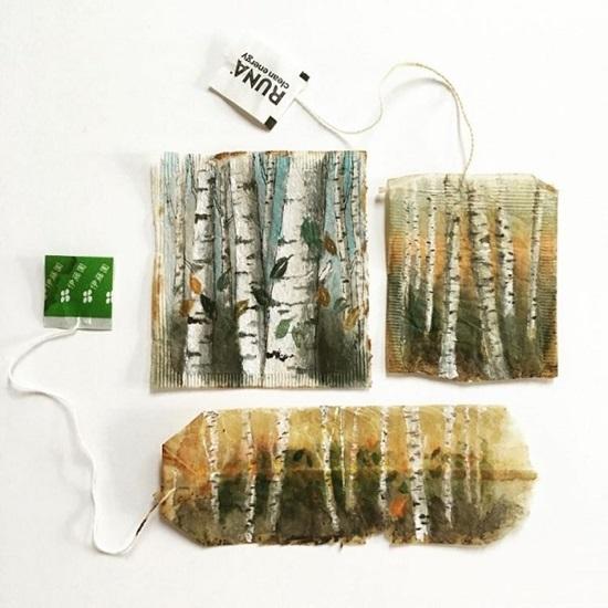 Tranh vẽ nghệ thuật đầy tinh vi trên túi trà lọc - 2