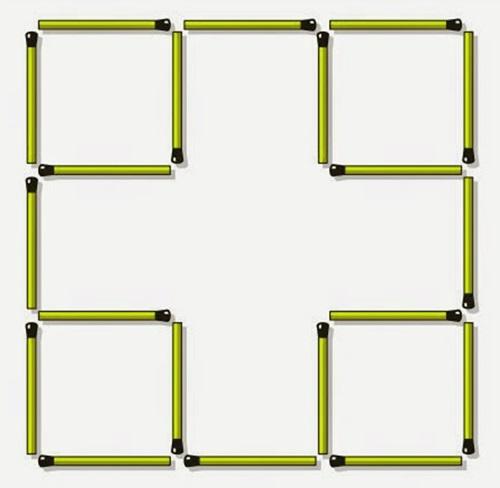 Di chuyển 2 que diêm để tạo thành 7 hình vuông