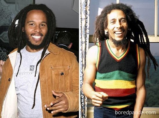 Ziggy Marley và Bob Marley khi 35 tuổi.
