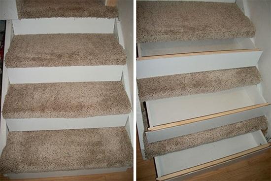 Mỗi một bậc thang đềulà các ngăn kéo để đồ.