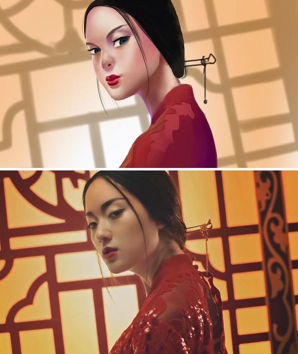 Hình ảnh ấn tượng của Thu Anh trong Lạc trôi được người hâm mộ vẽ lại.