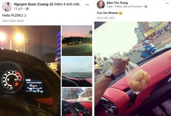 Cường Đô La và Đàm Thu Trang check in giống nhau ở trên xe hơi tại Gia Lai.