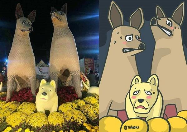 Chú chó mang bộ mặt hờn cả thế giới gây sốt tại đường hoa Hùng Vương - 1
