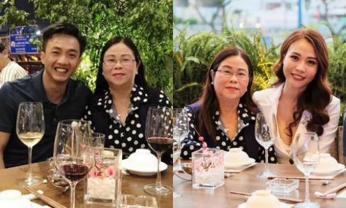 Cường Đô La chụp ảnh thân thiết với mẹ Đàm Thu Trang.