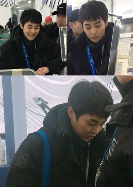 Dù là idol nổi tiếng nhưng Xiu Min cũng tự mình đến sân vận động và bị fan chụp lại.