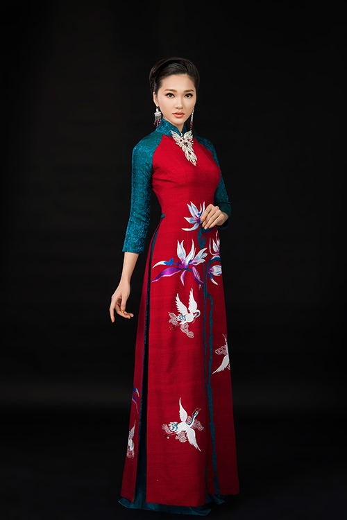 Cô gái có gương mặt đẹp nhất hoa hậu hoàn vũ nổi bật với tà áo dài đón xuân - 2