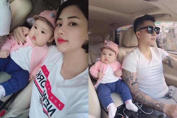 Linh Trang - Tiến Dũng bên công chúa nhỏ.