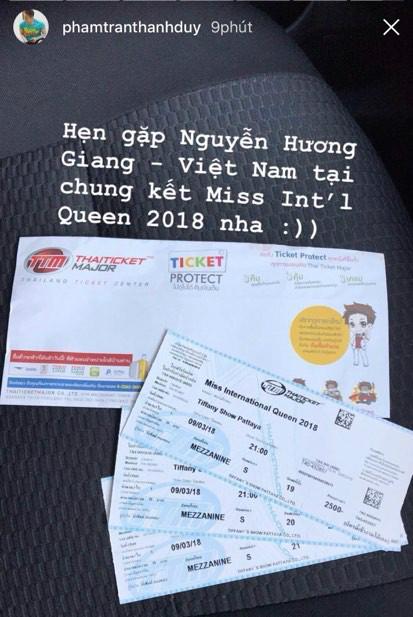 Thanh Duy mua vé sang Thái để trực tiếp ủng hộ Hương Giang.