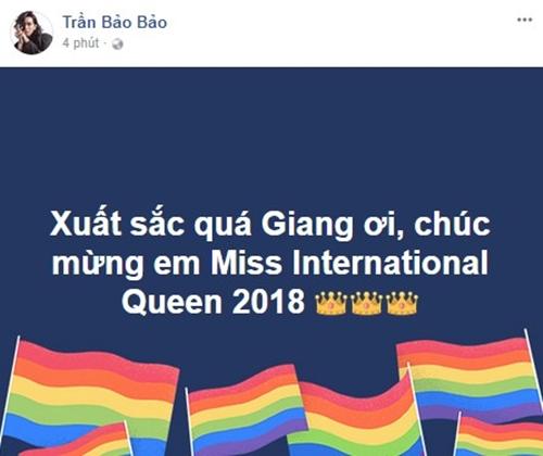 Sao Việt phấn khích mừng Hương Giang Idol đăng quang Hoa hậu Chuyển giới - 3