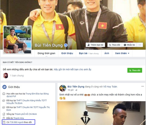 Top 6 Facebook của U23 có lượt theo dõi khủng nhất - 2