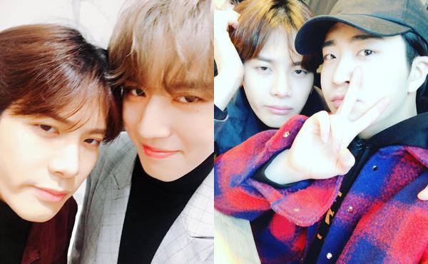 Yu Gyeom và Young Jae đăng ảnh đôi chúc mừng sinh nhật Jackson. Anh chàng Jackson chụp với ai cũng cùng một biểu cảm lờ đờ buồn ngủ.