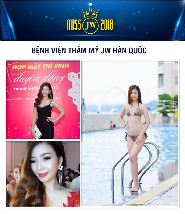 Nhiều cô nàng xinh đẹp, tài năng khác cũng tham gia chương trình Miss JW 2018. Trong ảnh là Bùi Thị Yến Nhi (20 tuổi, An Giang). Nhi cao1m69 vớisố đo 3 vòng82-65-89.