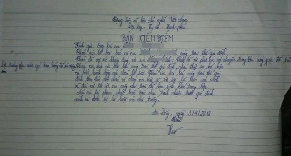 Bản kiểm điểm viết tay của nữ giáo viên bắt học sinh uống nước bẩn, Ảnh: VTC News.