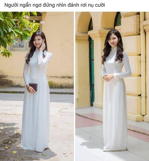 Bức ảnh một nữ sinh mặc áo dài trắng trên mạng xã hội hút hàng nghìn lượt like. Bạn này cười xinh như diễn viên Hàn Quốc vậy, Con gái Việt Nam bao giờ cũng xinh nhất trong tà áo dài... là những bình luận khen ngợi cho nhan sắc cô gái.