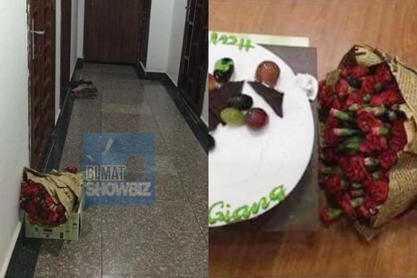 Quà Nam Em đặt trước cửa phòng Trường Giang gồm bánh kem và hoa cẩm chướng bị soi.