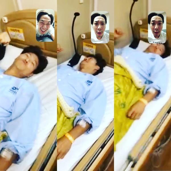 Haha gọi video chúc mừng sinh nhật Kim Jong Kook khi chàng lực sĩ của Running Man đang phải nằm viện.