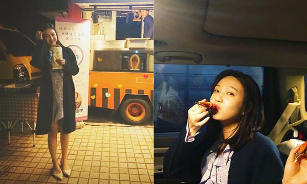 Joy (Red Velvet) hạnh phúc khi được tặng bánh churros đến trường quay.