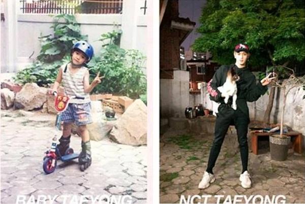 Dù không có đạo cụ nhưng Tae Yong vẫn nghi điểm bẳng chân dài, mặt xinh.