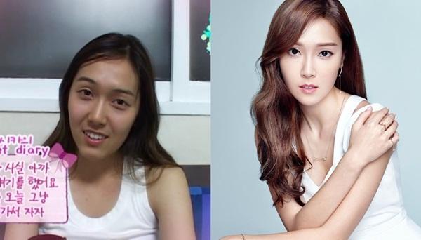 Ảnh so sánh trước và sau khi debut của Jessica khác biệt quá nhiều khiến cô nàng bị nghi phẫu thuật thẩm mỹ.
