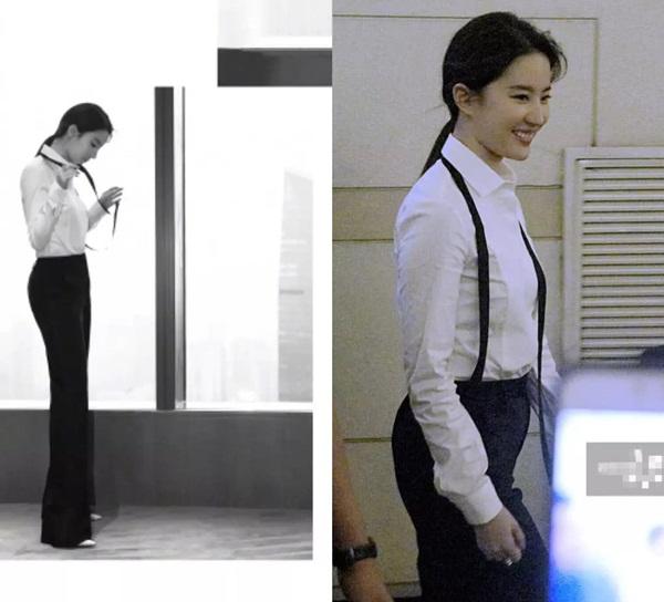Thân hình khác biệt của Lưu Diệc Phi trong một shoot ảnh và hình hậu trường cho thấy nữ diễn viên có vòng eo kém thon.