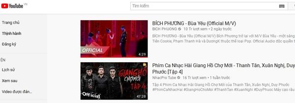 Top 1 thịnh hành YouTube Việt Nam hiện tại là MV Bùa yêu của Bích Phương.