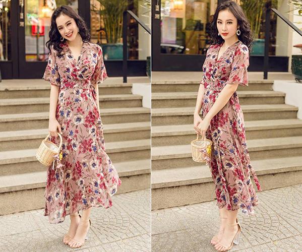 Angela Phương Trinh khoe hình ảnh xuống phố gần đây với bộ váy hoa thướt tha, tôn lên vẻ nữ tính. Từ trang phục cho đến cách trang điểm của cô nàng đều không có gì để chê, cho đến khi nhìn xuống đôi sandals.