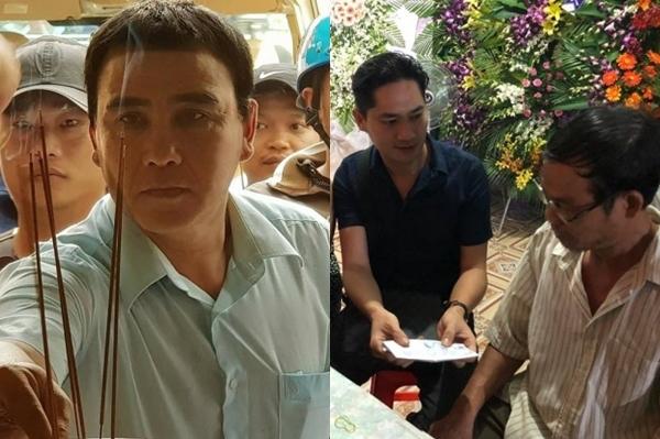 Quyền Linh - diễn viên Minh Luân thắp nhang, thăm hỏi gia đình có hiệp sĩ tử vong do bắt cướp.