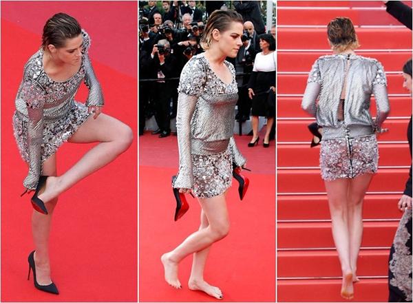 Cô nàng còn bất chấp tháo luôn giày cao gót khi vừa đi được nửa thảm đỏ, sau đó đi chân đất suốt quãng đường còn lại để di chuyển dễ dàng hơn.