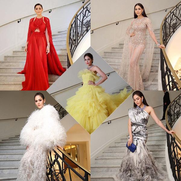Trước khi gây sốt khán giả toàn châu Á với bộ phim Ngược dòng thời gian để yêu anh, Chompoo Araya vốn đã là mỹ nhân đình đám bậc nhất Thái Lan. Ngoài vai trò diễn viên tài năng, cô còn được đánh giá là fashionista với gu thời trang phá cách. Trên thảm đỏ Cannes 2018, Chompoo là mỹ nhân để lại nhiều ấn tượng với những trang phục dạ hội kiểu cách, lấn át cả Phạm Băng Băng.