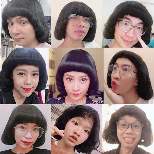 Chi Pu tạo nên cơn sốt với tạo hình mọt sách. Bộ tóc giả của cô nàng được cả ê kíp làm MV mới đua nhau đội theo.
