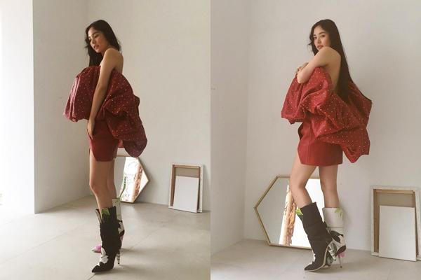Min Hyo Rin khoe chân thon thẳng tắp và vai trần quyến rũ trong hậu trường chụp hình tạp chí.