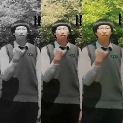 RM gây cười với kiểu đầu nấm khi còn đi học.