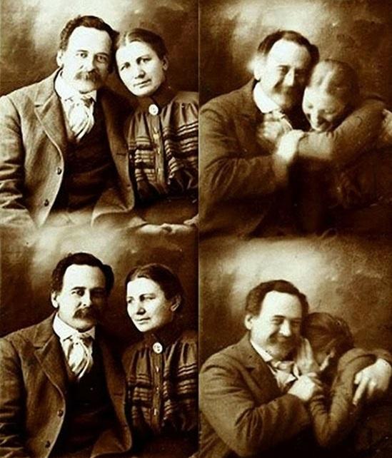 Cặp đôi cố gắng ngồi yên để chụp ảnh trong một studio những năm 1890.