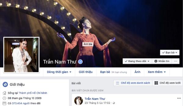 Tài khoản Facebook của Nam Thư còn tồn tại nhưng không phải chính chủ.
