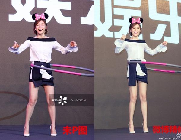 Đôi chân cơ bắp và hơi thô thường được Viên San San chỉnh sửa xinh đẹp trước khi đăng hình lên Weibo.