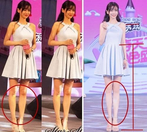 Đôi khi Angelababy được photoshop quá đà, tỷ lệ chân dài đến mức không thực.