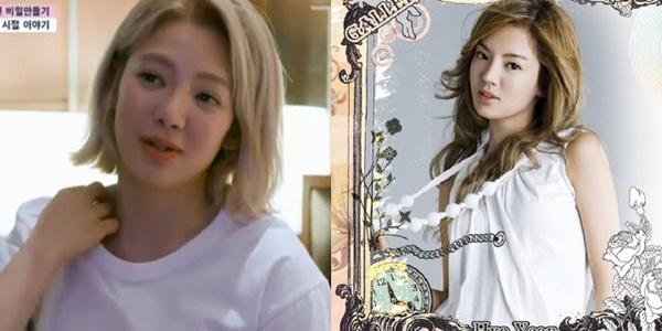 Hyo Yeon (trái) trên chương trình Secret Unnie và khi mới ra mắt.