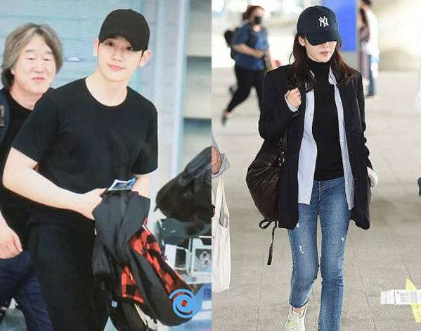 Ngày 1/6, khi ra sân bay về Hàn, Son Ye Jin và Jung Hae In lại mặc đồ tông xuyệt tông với áo đen, mũ đen, đi giày thể thao.