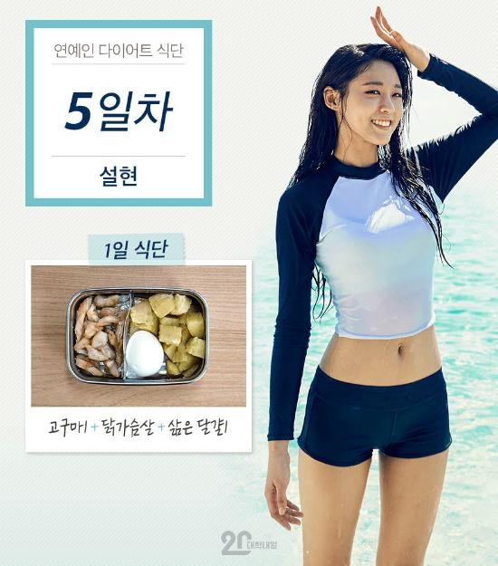 Chế độ giảm cân với khoai lang, ức gà và trứng luộc của Seol Hyun được chia sẻ rộng rãi trên internet.