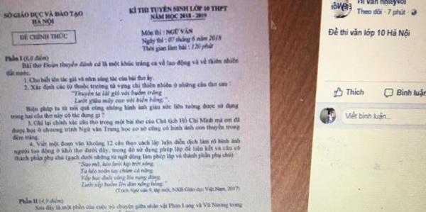 Hình ảnh đề thi được đăng tải trên mạng trong khi học sinh đang làm bài.