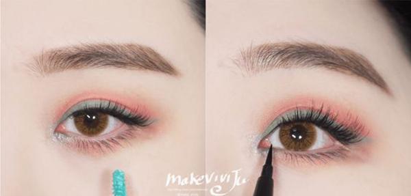 Để trang điểm như Sun Mi không hề khó. Bạn chỉ cần dùng màu hồng san hô phủ đều lên bầu mắt, sau đó viền mí mắt bằng tông xanh ngọc. Thêm một chút nhũ xanh sáng ở khóe mắt để đôi mắt càng thêm lấp lánh thu hút ánh nhìn.