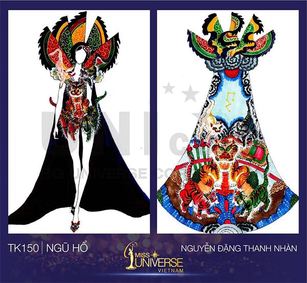 Ngũ hổ của tác giả Nguyễn Đặng Thanh Nhàn cũng tôn vinh vẻ đẹp nữ quyền của người phụ nữ Việt hiện đại. Thiết kế lấy cảm hứng từ nét văn hóa tuồng chèo với hình ảnh chú hổ quyền uy. Phần thân trước là váy ngắn sexy có thể giúp HHen Niê khoe đôi chân đẹp.