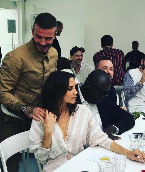 Hai vợ chồng tại London Fashion Week ngày 10/6.