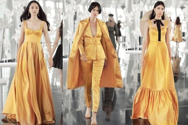 Chung Thanh Phong nhấn nhá vào BST một số thiết kế với gam màu tươi tắn và thanh lịch. Nếu gam màu hồng dust pink thời thượng được các cô gái yêu thích từ mùa thu đông 2017 thì màu vàng tạo nên sự tươi tắn, khác biệt.